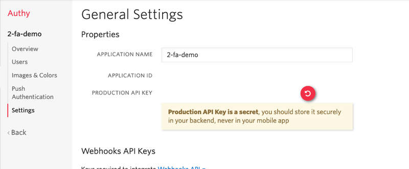 Copy the production API key from a Twilio Authy app