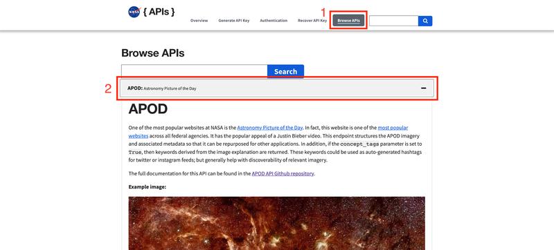 A screenshot of NASA's APOD detail page
