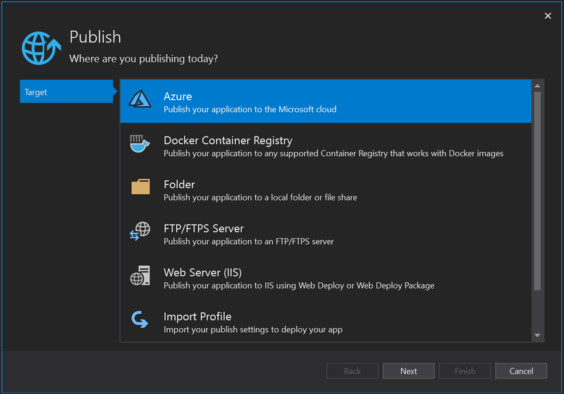 Visual Studio 2019 Publish window screenshot