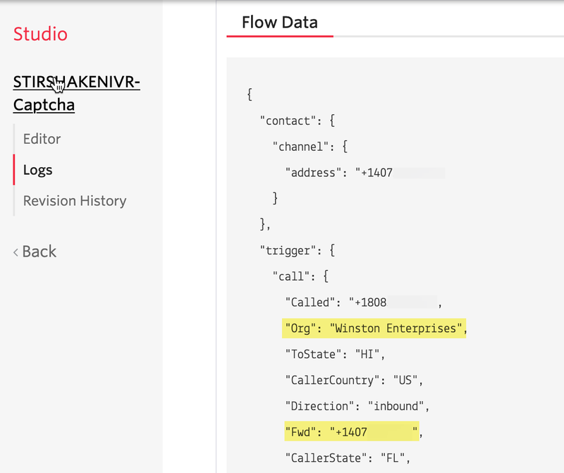 SHAKEN/STIR Flow log showing a forwarding number and organization