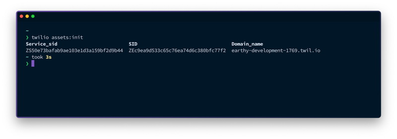 A view on the terminal. The command `twilio assets:init` has been run and the result shows the Service SID, environment SID and domain name