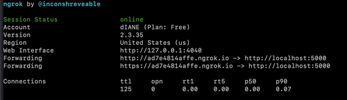 """image showing the output of running the """"ngrok http 5000"""" command with forwarding URLS"""