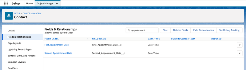 Screenshot of the Salesforce object manager with custom fields.