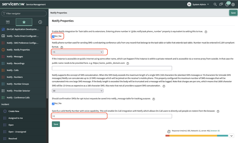 A screenshot of the Notify Properties section of the ServiceNow dashboard