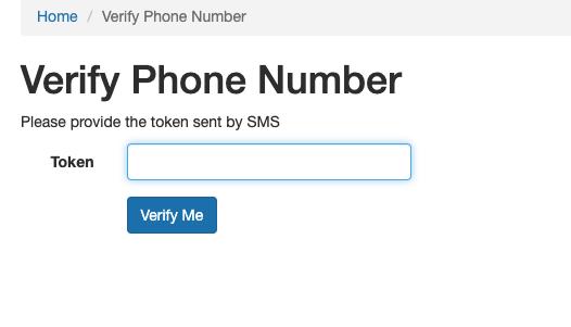 Verify Phone number form