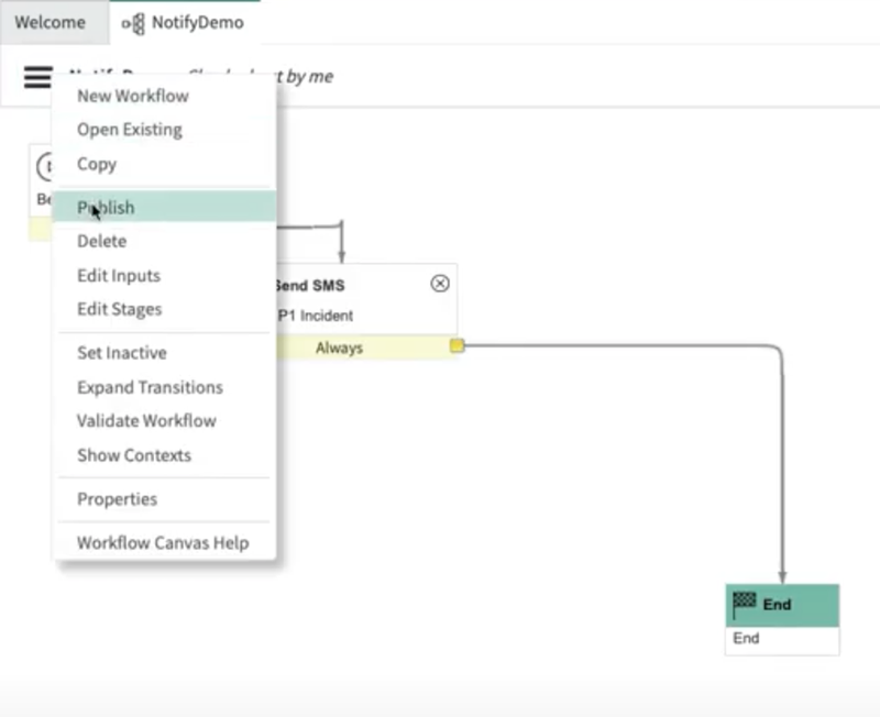 A screenshot of the notification workflow