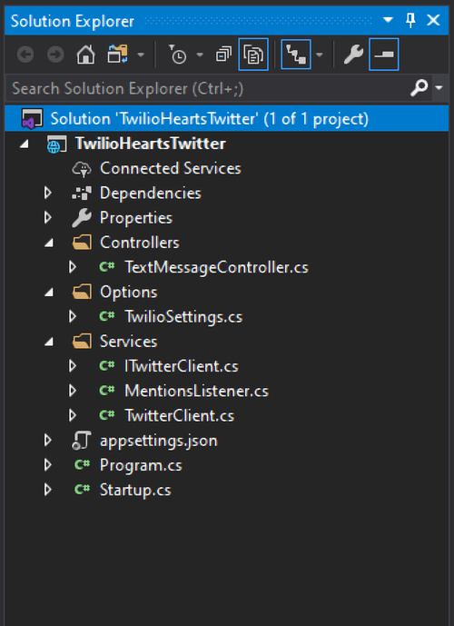 Visual Studio 2019 Solution Explorer screenshot