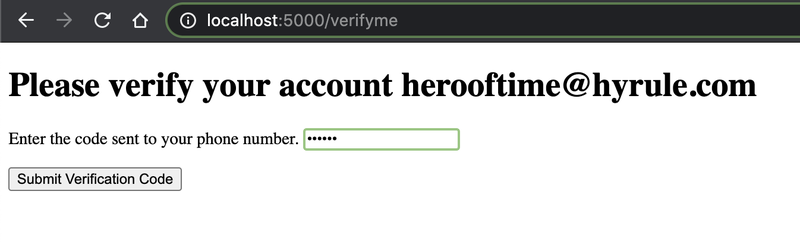 screenshot asking the user with given email to enter and submit the verification code
