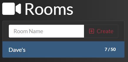 Lista de chats por vídeo do Room após a adição de uma sala
