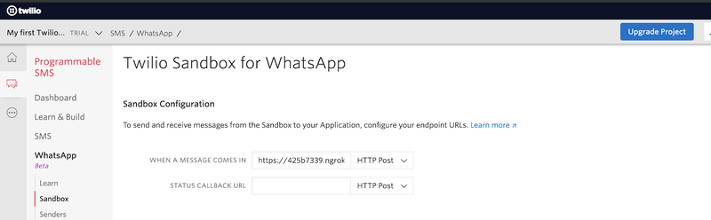 Twilio Sandbox for WhatsApp