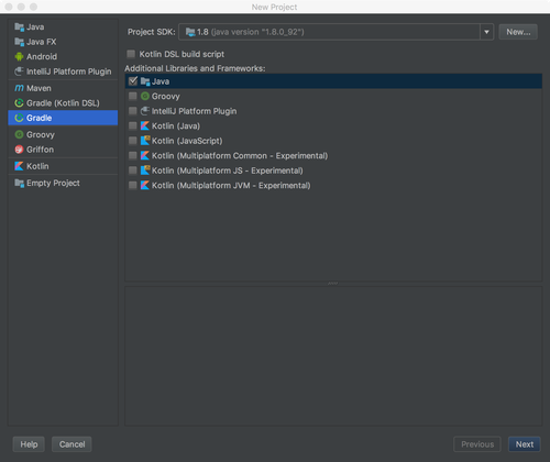 IntelliJ IDEAでのNew Gradle Project