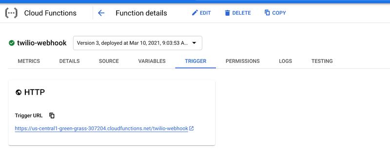 Cloud Function Trigger URL