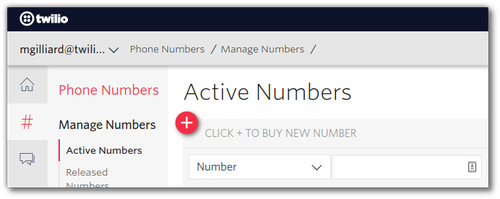 Screenshot of Twilio console buying a phone number