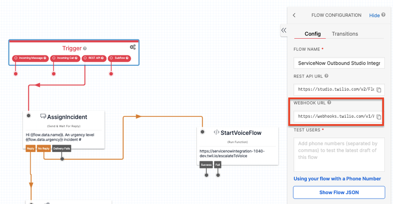 Twilio Studio Flow pointed to the Webhook URL