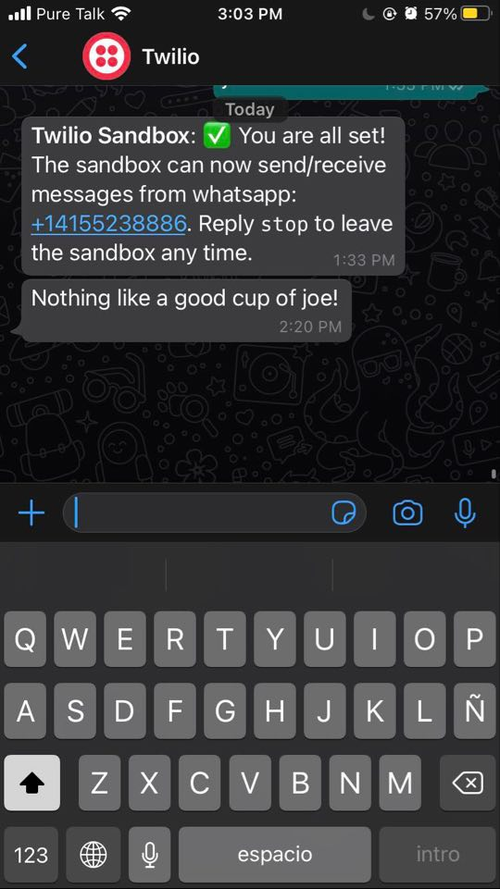screenshot of the WhatsApp message sent with Java