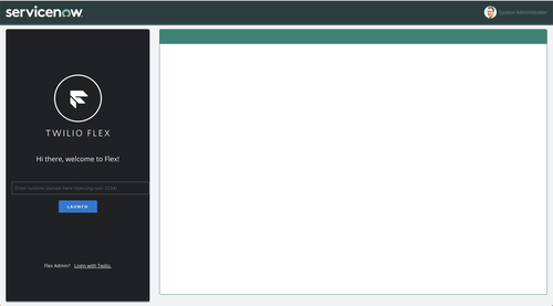 A screenshot of the Twilio Flex UI within the ServiceNow dashboard