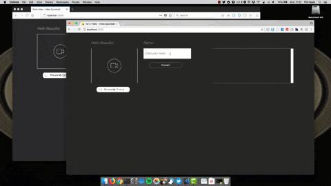 Exemplo de dois navegadores conectados na sala de videoconferência e compartilhando a tela.