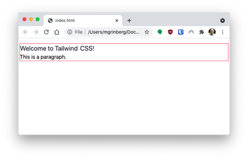 TailwindCSS styled page with top and bottom margins