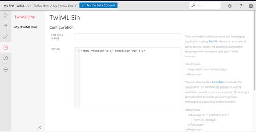 Screenshot of TwiML Bin configuration page