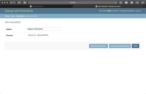 Upload newsletter screenshot
