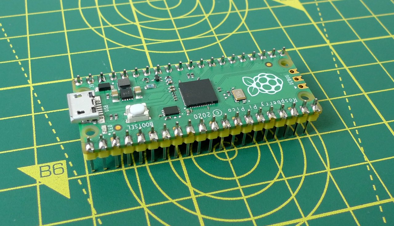 The Raspberry Pi Pico with male headers added