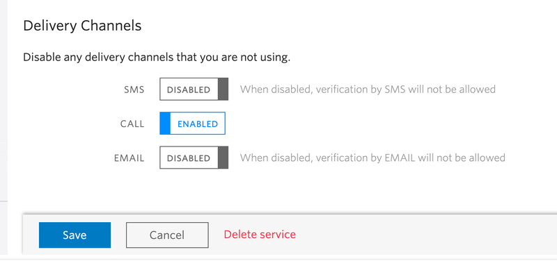 screenshot of verify service settings page showing call enabled and sms and email disabled