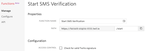 Start SMS verification function