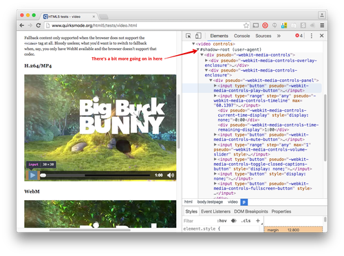 Now when you inspect the Video element there is a shadow-root and a whole load of divs, inputs and other HTML within.