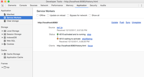 A waiting service worker in Chrome
