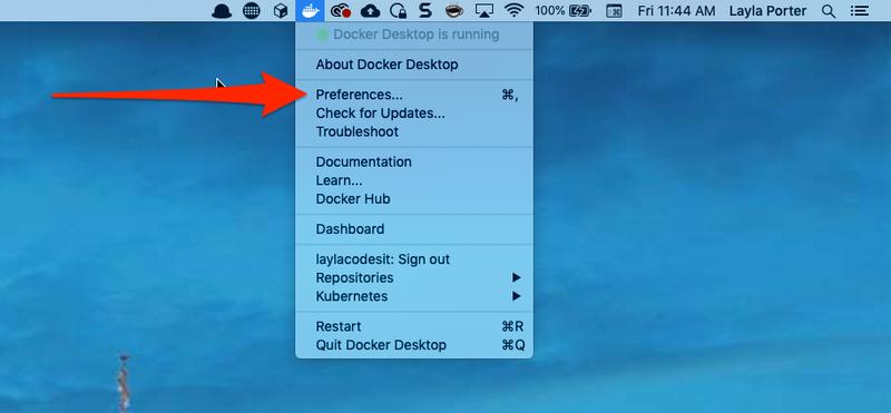 screenshot of Docker menu
