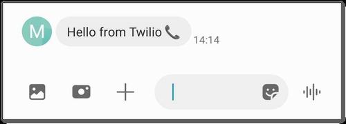Captura de pantalla del SMS de la app de mi teléfono's que muestra un mensaje que dice 'Saludos de Twilio'