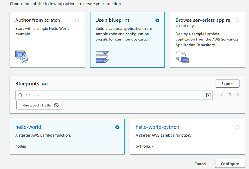Blueprint selection in Lambda
