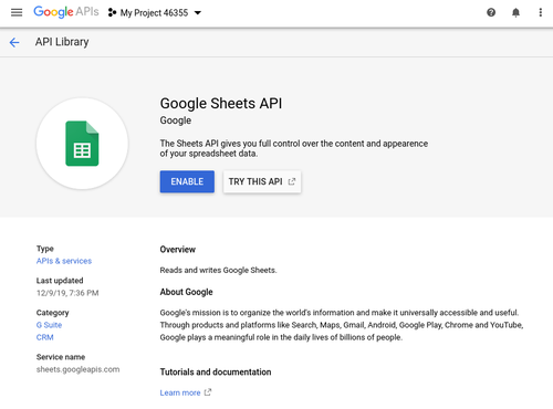 Enable Google Sheets API screenshot