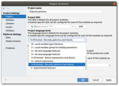 "IntelliJ's project structure window, highlighting the choice of ""14 (Preview)"" as Project SDK"