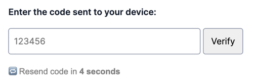one time passcode input field with message that reads resend code in 4 seconds