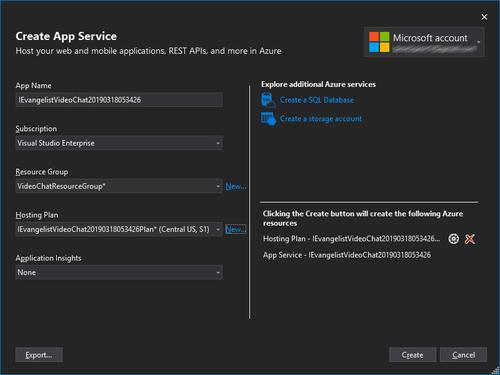 Visual Studio Create App Service dialog box screenshot