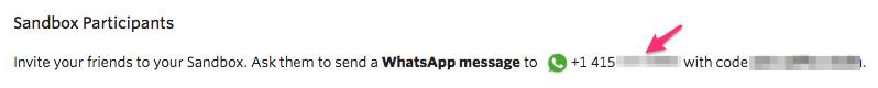 Tela com número da Sandbox do WhatsApp e código de vínculo.