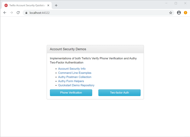 Twilio Account Security Quickstart home page