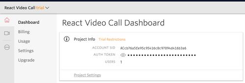 Console da Twilio com as informações de acesso a conta.