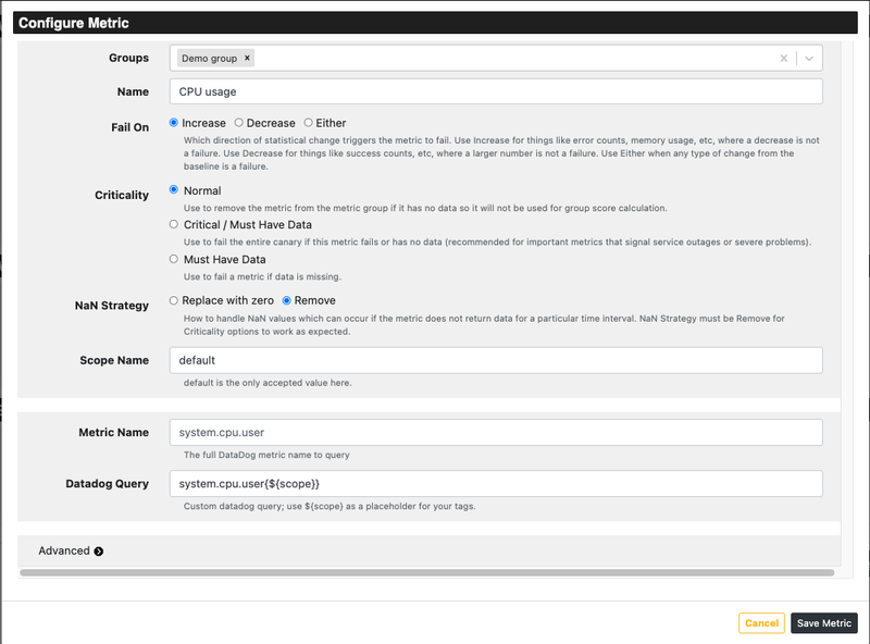screenshot of the referee configure metric page