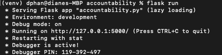 """Image depicts the console output for the """"flask run"""" command for the Work Accountability app"""