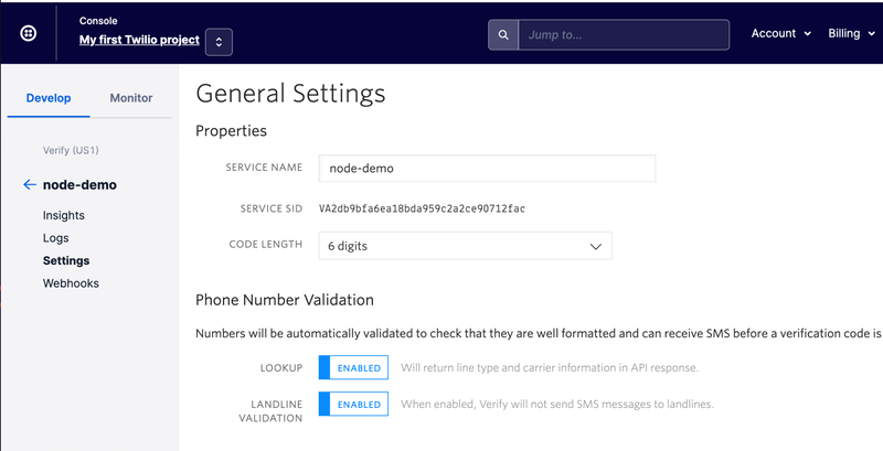 Twilio Service General Settings page
