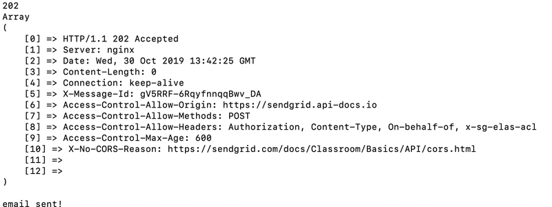 SendGrid email response in console window