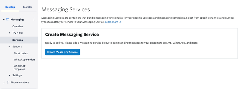 Twilio's Messaging Service Page
