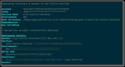 "Screenshot of the output of ""twilio serverless:deploy"""