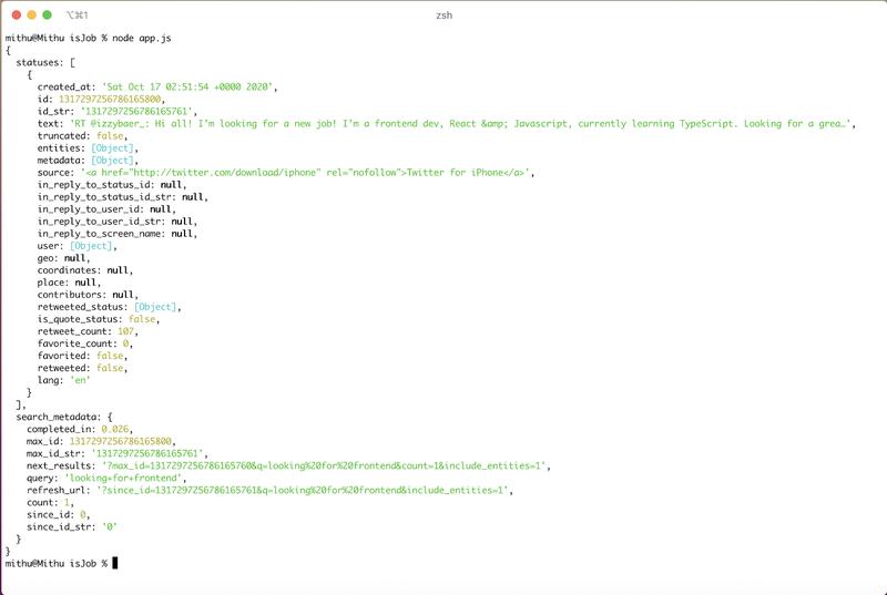 Screenshot of Terminal with Twitter return Data