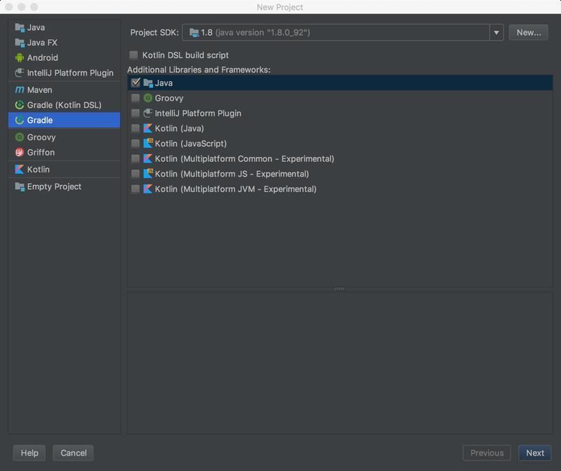 choose gradle option for new java project