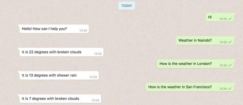 Tela do WhatsApp com a troca de mensagens e resposta do intent de previsão do tempo.