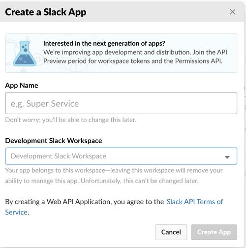 Dialog stepping through creating a Slack App
