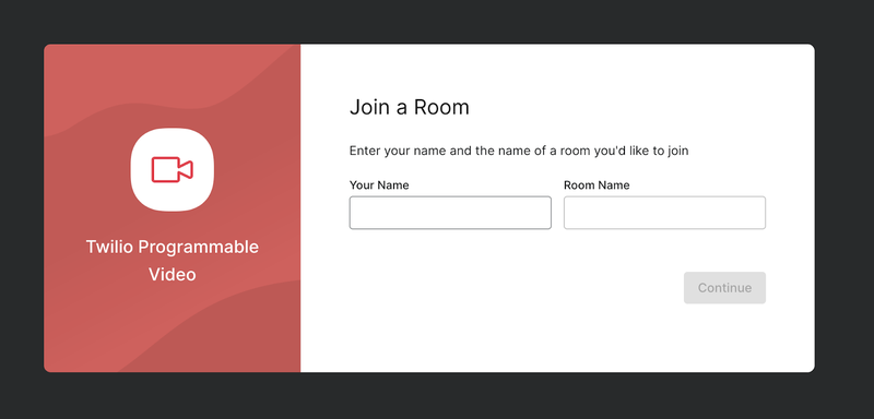 Twilio Video React App initial screen, with inputs for a user's name and a video room's name.